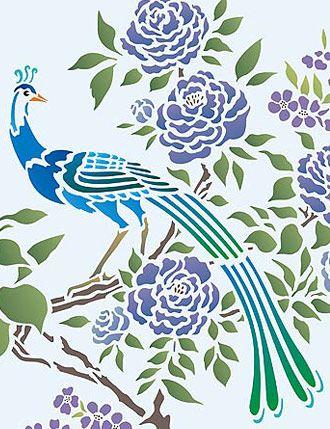 Шинуазри трафарет экзотические птицы и цветет трафарет