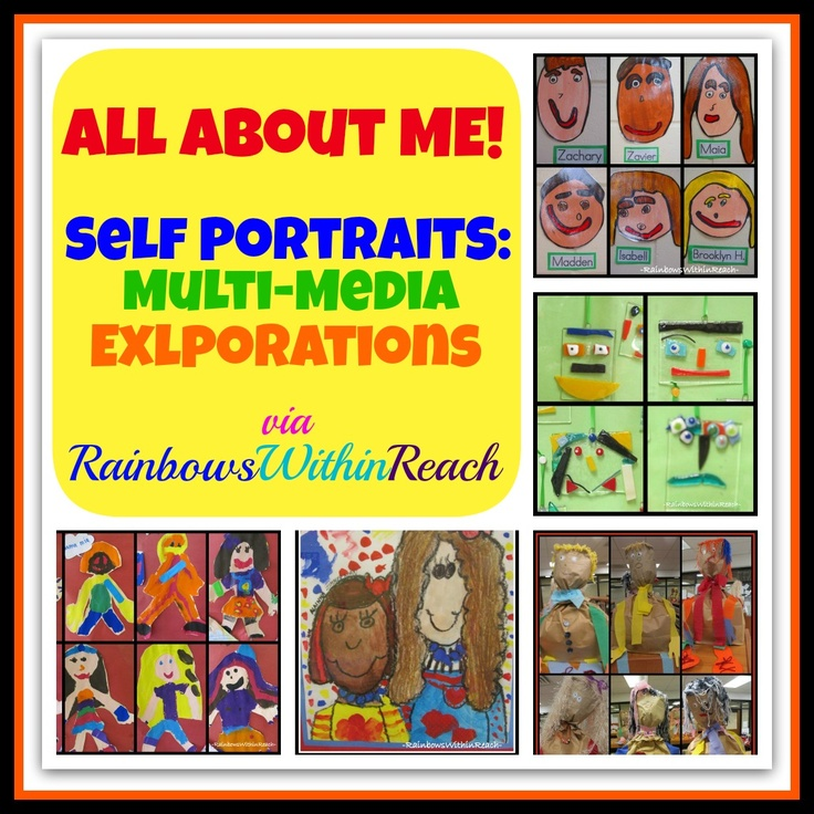 """Self Portraits by Children (""""All About Me"""" RoundUP via RainbowsWithinReach)"""