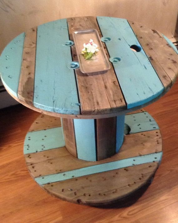 SOLD: Upcycled and Repurposed Cable Spool Side by ThePaintedDen