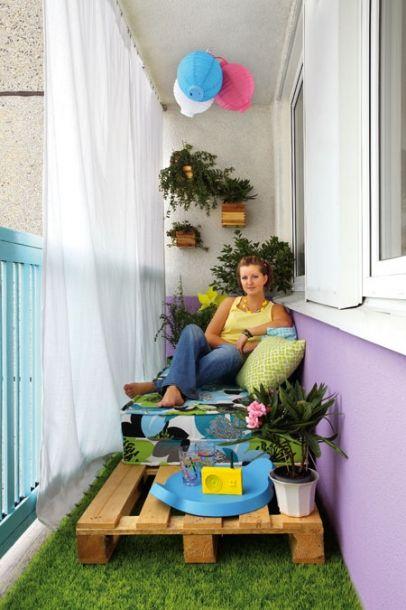 Gordijn  hangen op balkon