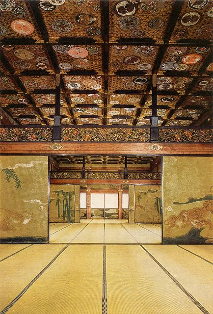 Nijo Castle Interior. Kyoto, Japan. Tokugawa Hideyoshi effectively turned Kyoto into a