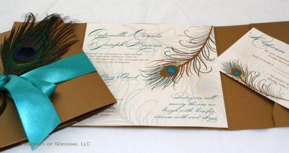 Invitaciones de la boda del pavo real por SDezigns en Etsy