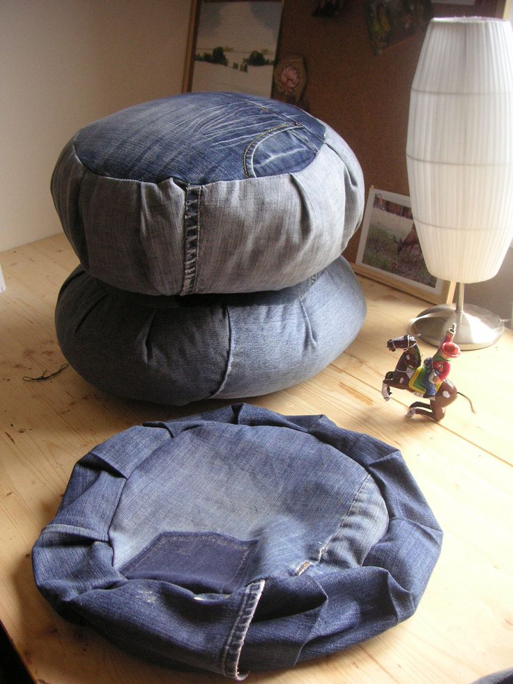 DIY DENIM ZAFU meditation cushion. Stuff it with all yer old fabric scraps that are too small to do anything with. Someone had a more beautiful example but i can't find it.