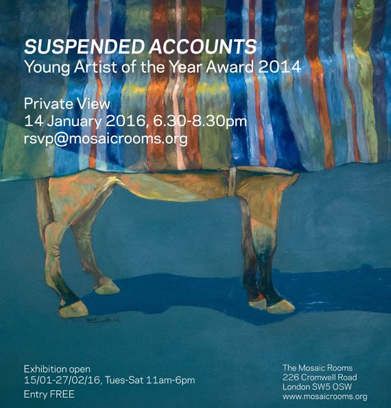'Suspended Accounts' at Mosaic Rooms, London, from 14 Jan to 27 Feb 2016. Free admission, step-free access available. More: http://kelise72.com/2016/02/05/young-palestinian-artists-suspended-accounts-mosaic-rooms-london/