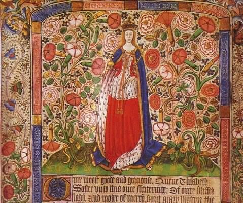 Elizabeth Woodville in her Coronation Robes as depicted in a 15th cent. scroll celebrating her marriage to King Edward IV.