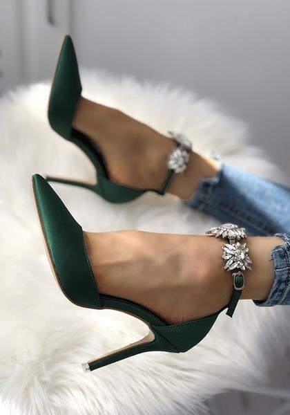 Green Women Rhinestone Pumps Fashion New Stilettos High Heels Shoes Elegant Wedding Party Shoes Free Ship
