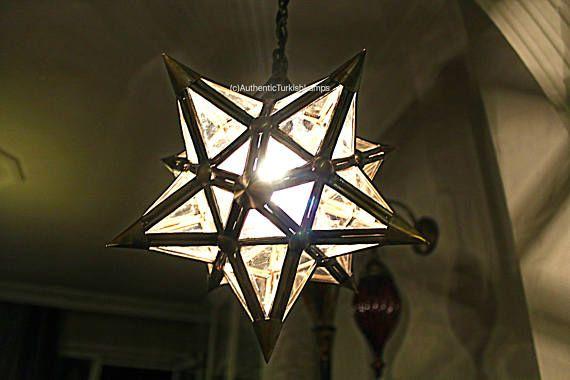 Moravian Star Pendant Light Clear Glass Silver Frame 12