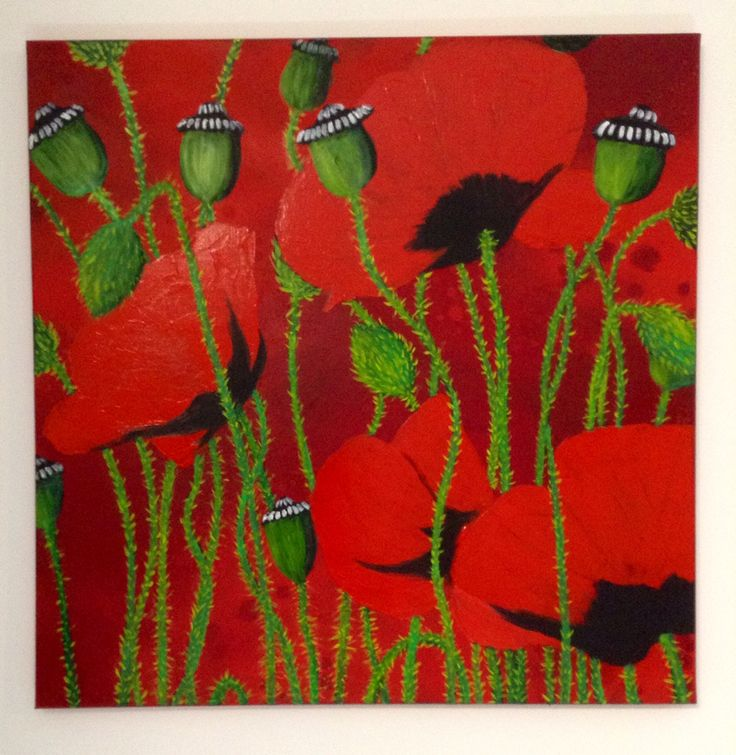 Red poppies, oil on canvas, 60x60cm, by Lucie Nguyen #painting #oil #canvas #art #poppy #coquelicot #red #rouge