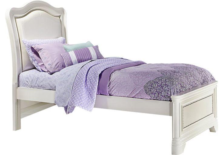 Sofia Vergara Kayla White 3 Pc Twin Panel Bed -BedsWhite