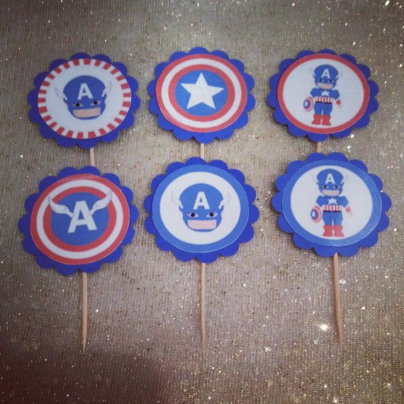 CAPTAIN AMERICA Cupcake Toppers/Food Picks/Party Picks/Superhero Theme Party Decoration on Etsy, $4.66