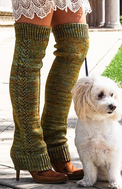 Free Knitting Pattern for Nozky Legwarmers - Monika Sirna's full length legwarmers come in sizes from baby to adult and feature twisted rib cuffs and beautiful Lace Twist up the side.