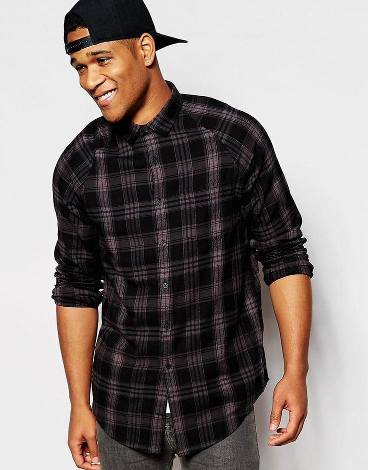 ASOS Shirt In Longline With 3 Bar Check
