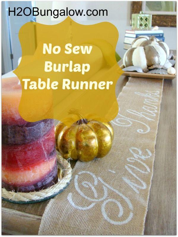 H2OBungalow.com: No Sew Burlap Table Runner