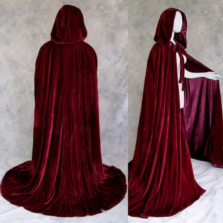 Burgundy Velvet Hooded Cloaks Medieval Cape Wedding Wicca LOTR Size S M L XL XXL