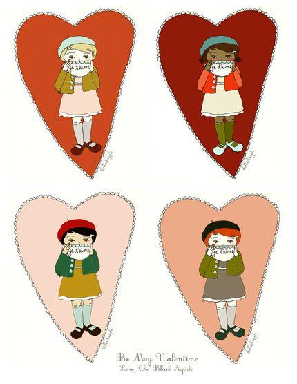 Free Printable ValentinesValentine'S Day, Black Apples, Little Girls, Valentine Day Cards, Valentine Cards, Printables Valentine, Gift Tags, Printables Cards, Free Printables