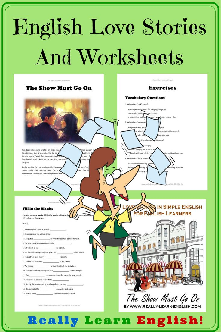 Love Stories in Simple English ===>>>> Read interesting stories and improve your English at the same time! These free stories and worksheets can be used by ESL ELL English students, teachers, and tutors at home or at school. Perfect for adult language learners!