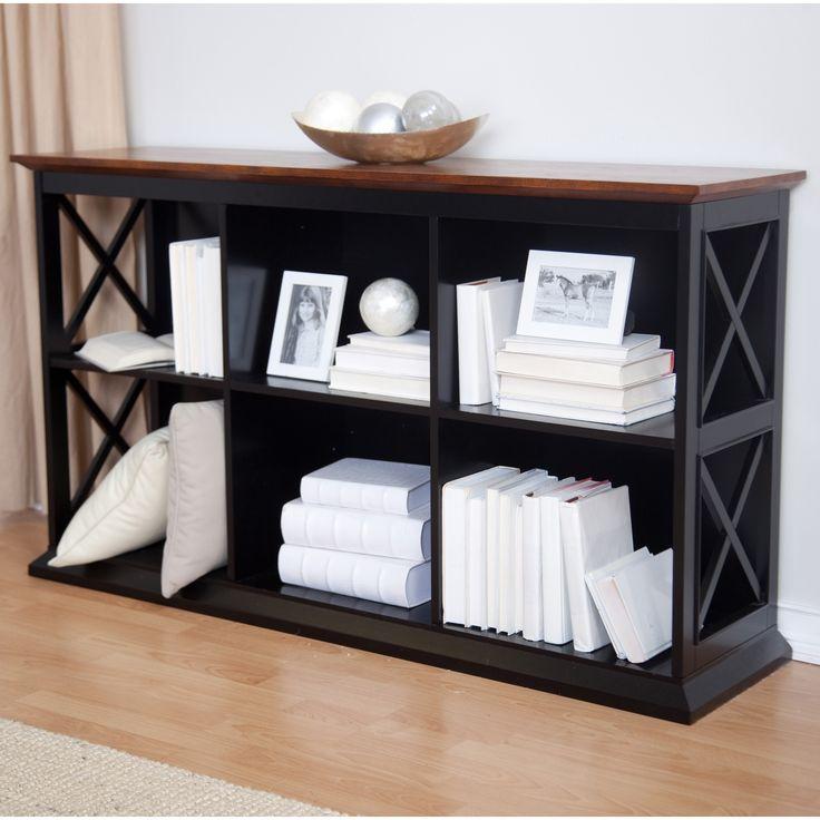 Belham Living Hampton Console Table Stackable Bookcase Black Oak