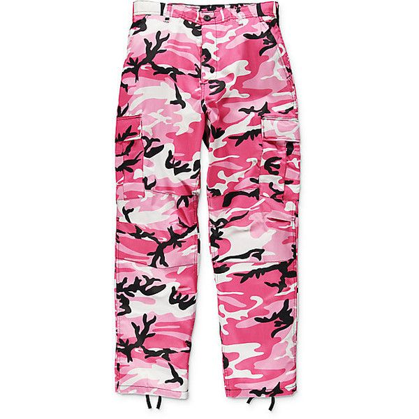 Rothco BDU Pink Camo Cargo Pants ($45) ❤ liked on Polyvore featuring pants, military style cargo pants, camoflage cargo pants, camo cargo pants, camouflage pants and pocket pants
