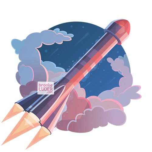 Mars Rocket Launch | Flat Vector Art Illustration | Stock Art | www.brookeluder.com