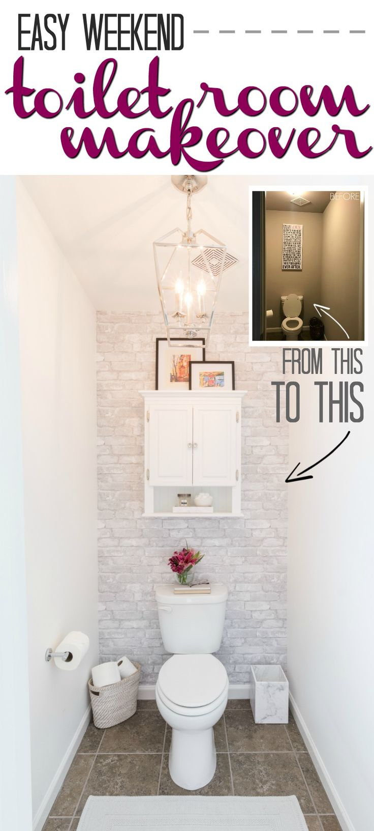 Easy Toilet Room Makeover to accomplish in a weekend! Water Closets and Bathrooms can be updated on a budget. Add white walls and some temporary peel and stick white washed faux brick wallpaper along with a few creative organization solutions and you have a new space!