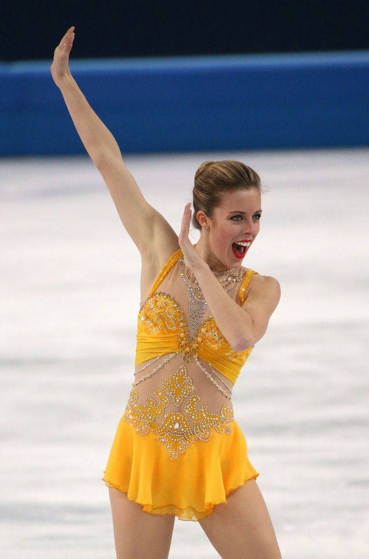 "Least Subtle Skating Ensemble: Ashley Wagner holds nothing back and the same goes for her costume. Bold yellow, bare stomach, cleavage for days. Her sassy costume is all: ""I'm sexy, ruthless, and going for Gold (Gracie or otherwise).""  2014."