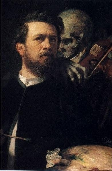 Arnold Böcklin, Self-Portrait, with death playing the violin.  Arnold Böcklin (16 October 1827 – 16 January 1901) was a Swiss symbolist painter.Influenced by Romanticism his painting is symbolist with mythological subjects often overlapping with the Pre-Raphaelites..... His pictures portray mythological, fantastical figures along classical architecture constructions (often revealing an obsession with death) creating a strange, fantasy world. [Wikipedia}