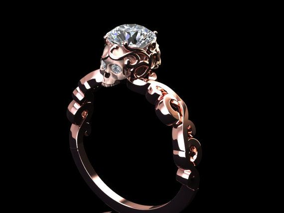 Diamond lace skull ring by adamfosterjewelry on Etsy