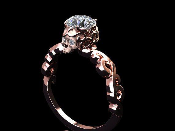 Diamond lace skull ring by adamfosterjewelry on Etsy
