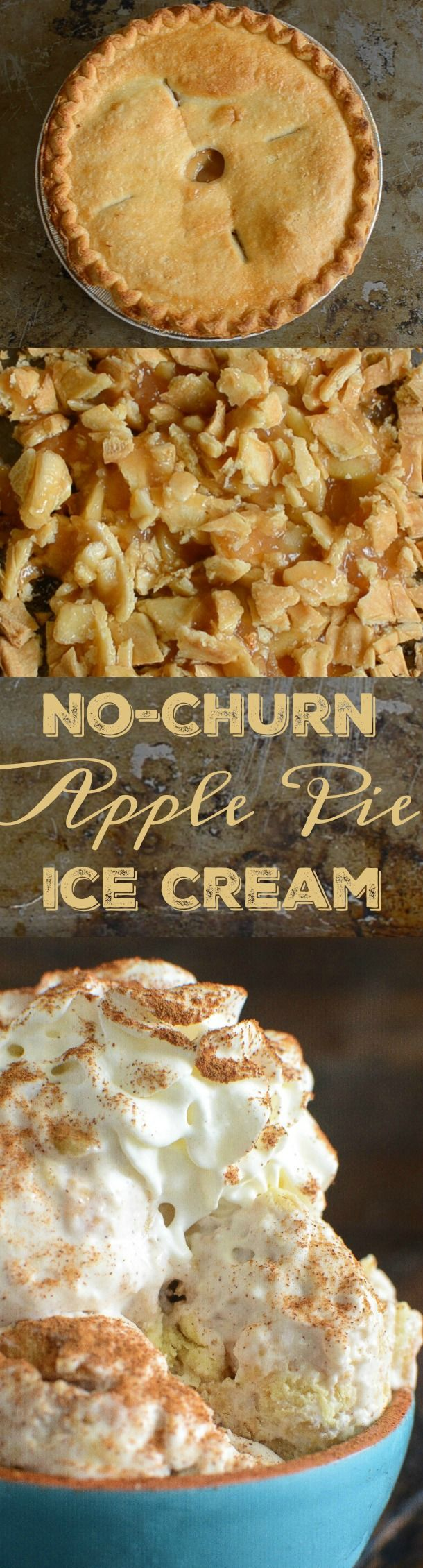 No Churn Apple Pie Ice Cream: the ultimate apple pie ice cream, with an entire pie swirled in each creamy bite, and you only need 5 ingredients to make it!