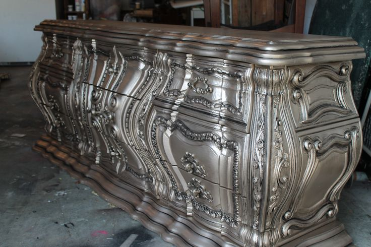 Modern Masters Warm Silver & Black Pearl Metallic Paint on a gorgeous dresser | By The Magic Brush