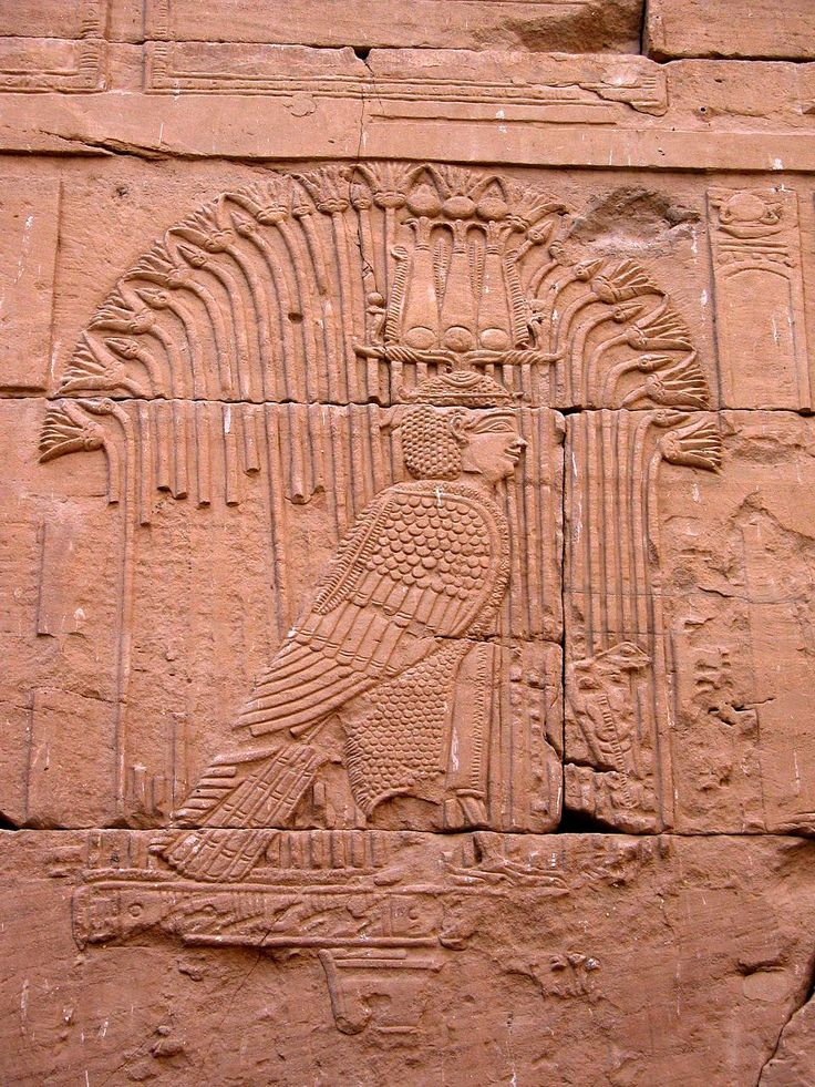 Relief of the Ba (soul) of God Mandulis manifested as a legendary bird on the Ancient Egyptian Kalabsha Temple.