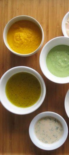 TGI FRIDAY'S DRESSINGS ~~~ (1) soy dressing (2) honey mustard dressing (3) mandarin orange sesame dressing (4) avocado vinaigrette (5) balsamic vinaigrette (6) caesar vinaigrette (7) asian ginger vinaigrette (8) passion fruit vinaigrette (9) cilantro lime dressing --- these recipes were originally found at http://allrecipes.com/recipe/cilantro-lime-dressing/ [tgi fridays dressing copycat recipe] [tgifridaysathome]