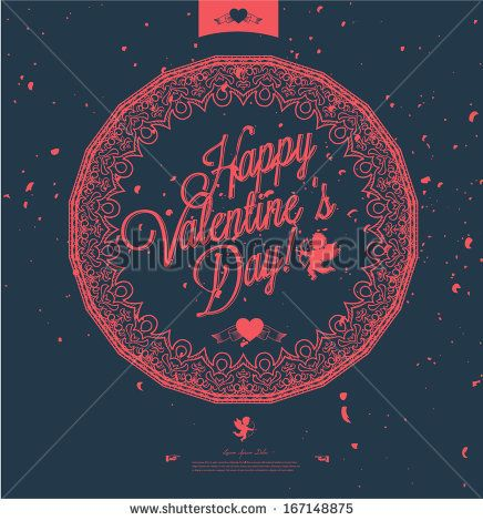 Happy Valentine's Day Hand Lettering - Typography Background l Retro Vintage Vector Design