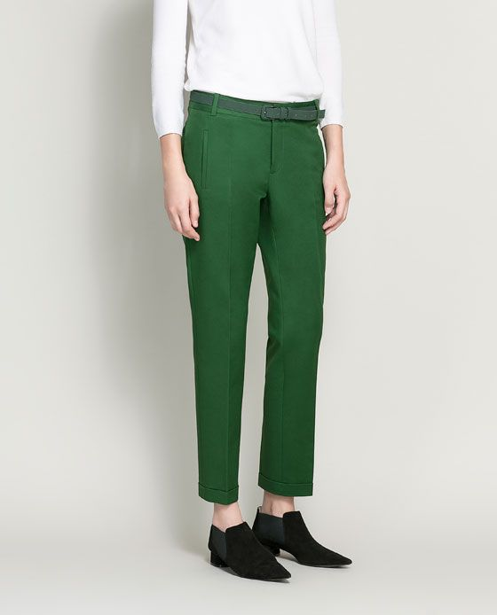 ZARA - WOMAN - love these green pants, they comein dusty pink and light caramel too