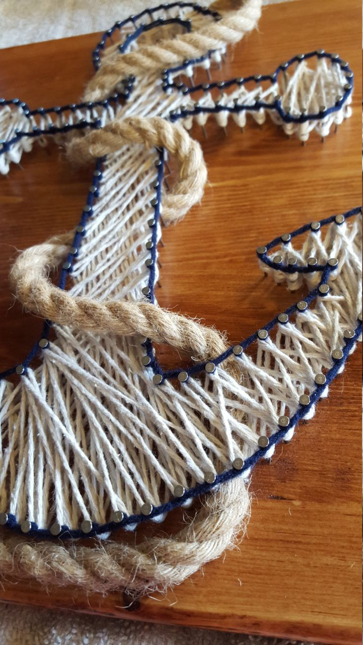 Nautical Anchor String Art with Rope FAST di Kristiestringart