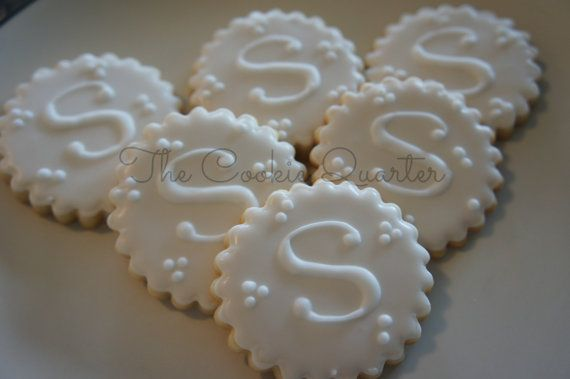Monogram Letter Wedding Cookies, 1 dozen, Decorated Sugar Cookies, Cookie Favors, Wedding Bridal Shower Initial Letter Personalized on Etsy, $32.00