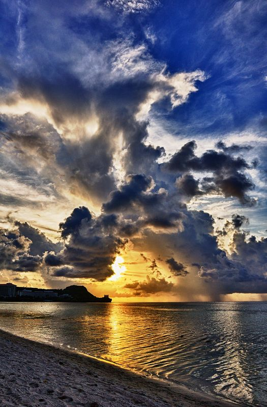 ~~Guam Sunset ~ gorgeous cloud-filled sky over a golden sunlit beach by Jimmy Mills~~