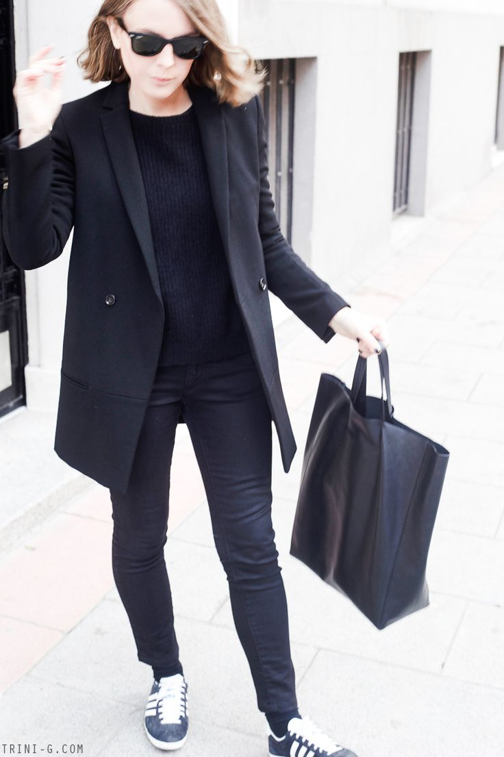 Trini | Acne Studios black jeans The Kooples coat Adidas Gazelle sneakers Céline cabas bag
