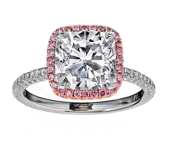 Cushion Diamond Engagement Ring Natural Pink Diamond Halo ...