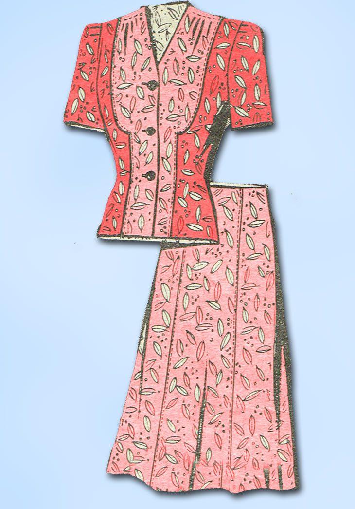 1940s Vintage Anne Adams Sewing Pattern 4635 WWII Misses 2 Piece Suit Sz 18 36B