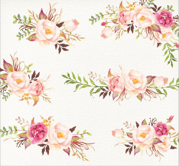 Romantic Blooms Watercolour Clip от GraphicSafari на Etsy