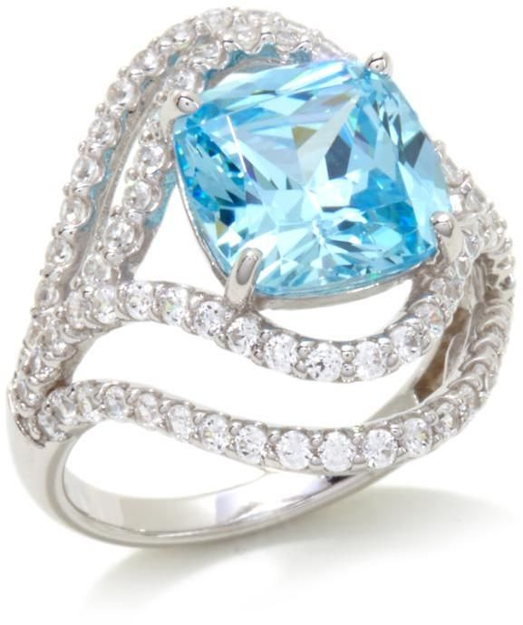 Victoria Wieck 6.7ctw Absolute and Simulated Aquamarine Sterling Silver Ring