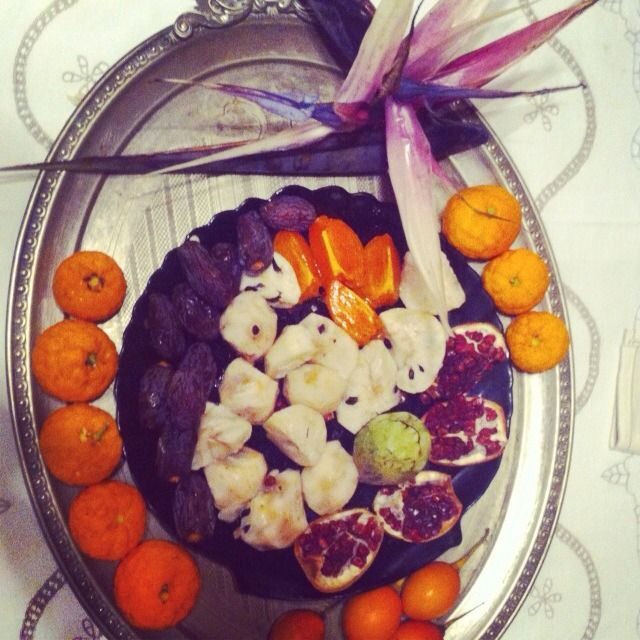 Happy 2014 with Sterlizia Augusta flower-satsuma mandarins-chirimoyas- pomegranates-lotus- plums
