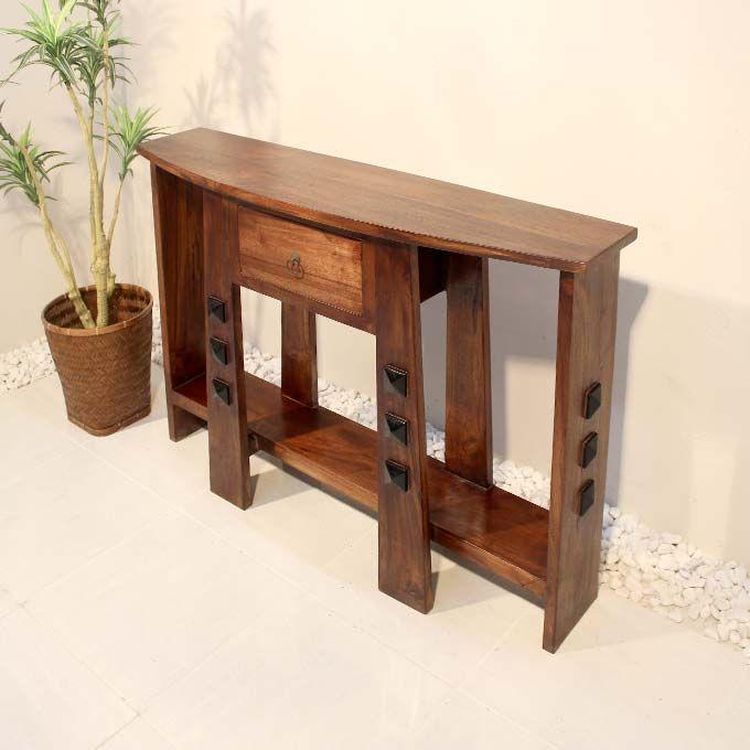 木製 コンソールテーブル デスク 引き出し 収納 無垢 チーク材 バリ家具 アジアン家具