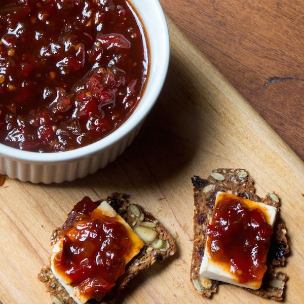 Spicy red pepper jam - bet this would be great on top of cream cheese as a dip.