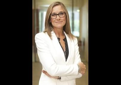 ANGELA AHRENDTS, SVP of retail and online stores at Apple. Former CEO at Burberry. Bachelor's degree in Merchandising and Marketing, Ball State University. http://ht.ly/xOpKO #49 on List of Forbes Most Powerful Women