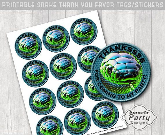 Snake Party Favor Tags Stickers Printable Thanksss Blue Green
