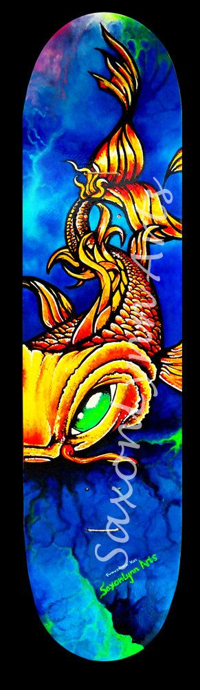 Koi Fish Skateboard  Original Fine Art Painting - Made to order Custom Skateboard Art FREE SHIPPING. Surf Art