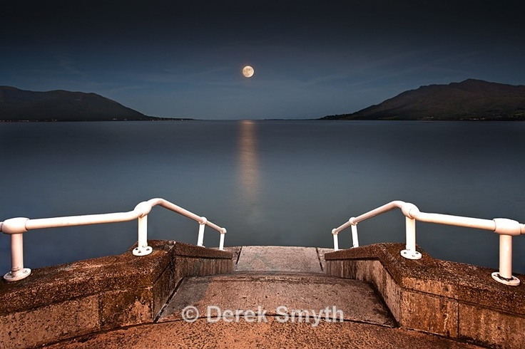 Moonrise over Carlingford Bay taken from the promenade at Warrenpoint.
