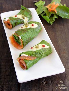 Mi Gran Diversión: Rollitos de tortilla de espinacas, relleno de trucha ahumada y aliño de mostaza